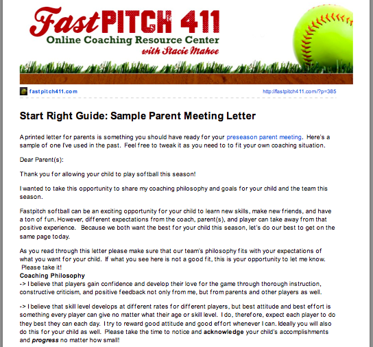 Stacie mahoe softball coaching cheat sheets bonus 1 sample parent meeting letter spiritdancerdesigns Images
