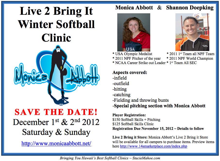 Monica Abbott Softball Pitching Clinic in Hawaii 2012