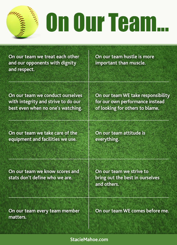 on our team free softball coaching printable