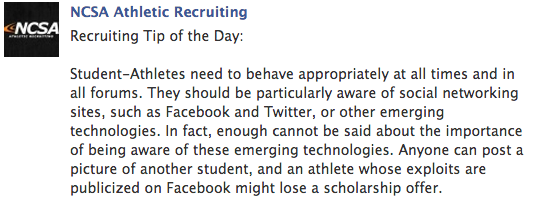 ncsa college recruiting tip - social media