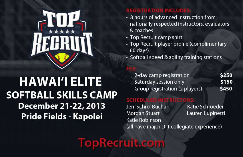 top recruit softball camp Hawaii 2013