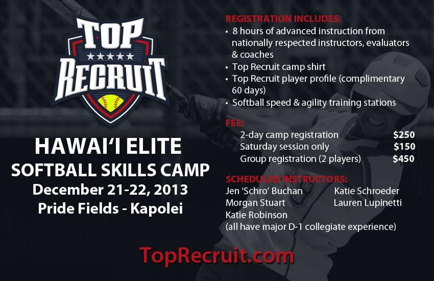 top recruit softball camp Hawaii 2013