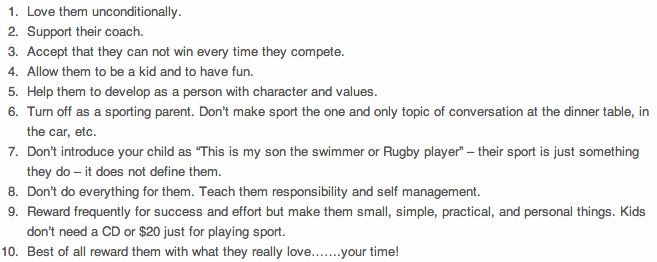 50 sports parenting tips