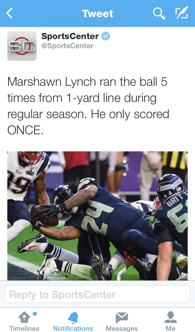 SuperBowl XLIX: Why didn't they RUN the ball?